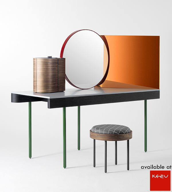 "oshi Levien for bd Barcelona with Chandlo: a dressing table designed to be viewed from all angles. The shape of the mirror reflects a bindi, traditionally worn on the forehead of Hindu women. The name Chandlo means ""moon shape"", another name for ""bindi"""