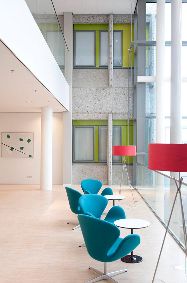 LZF Lamps' Saturnia floor lamp in the Haga Hospital in the Hague, Holland. Image courtesy LZF Lamps.