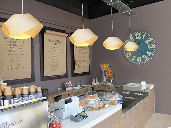 LZF Lamps' Nut Suspension in Baguette & Co, bakery and coffee shop in New Zealand. Image courtesy LZF Lamps.