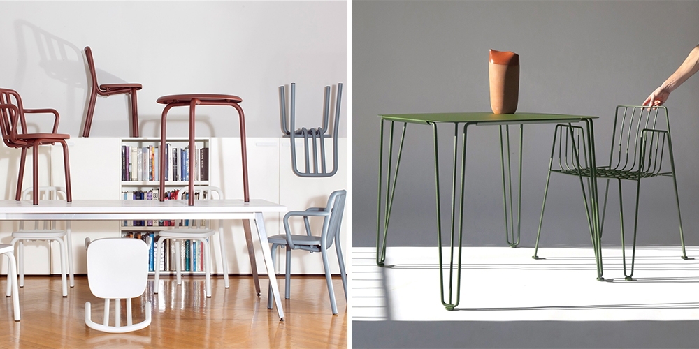 M114 Tube Collection (left) and Rambla chair and Table (right)
